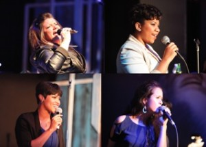 (Top left moving clockwise) Carolyn Cole, Ashleigh King, Shayla Simmons, and Tarina Szemzo in Women of the Blues at Creative Cauldron