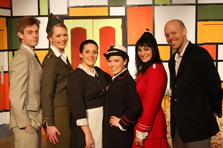 The cast of Boeing Boeing at The Fells Point Corner Theatre. Photo courtesy of Fells Point Corner Theatre.