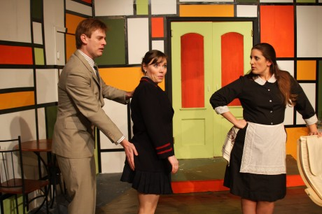 (l to r) Robert (David Shoemaker) Gloria (Wesley Niemann) and Berthe (Kate Shoemaker). Photo courtesy of Fells Point Corner Theatre.