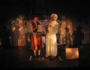 Aladdin (l- Sam Hayder) and Genie (r-Anthony Scimonelli) in Pumpkin Theatre's Aladdin