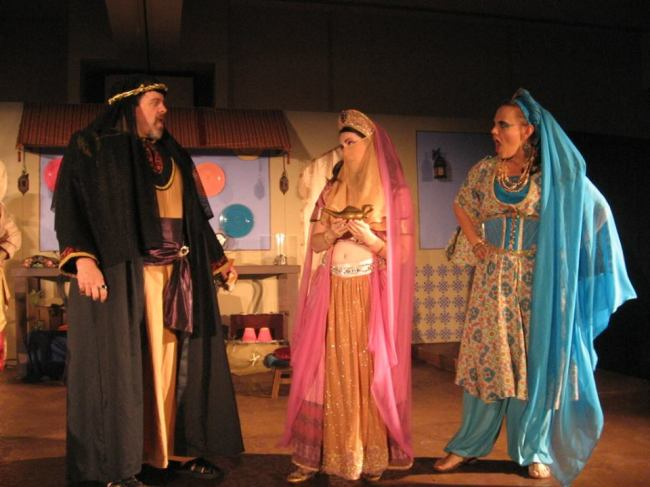 (l to r) The Evil Sorcerer Malfi (Thom Sinn) confronts Princess Opal (Amy Greco) and her handmaiden Sasha (Erin Confair)