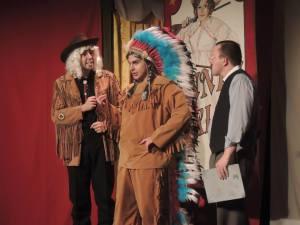 (l to r) Buffalo Bill Cody (Ariel Messeca) Chief Sitting Bull (Brady Love) and Charlie Davenport (Trey T. Kiska)