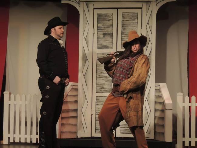 Frank Butler (l- Jordan B. Stocksdale) and Annie Oakley (r-Jamie Lee Kiska)