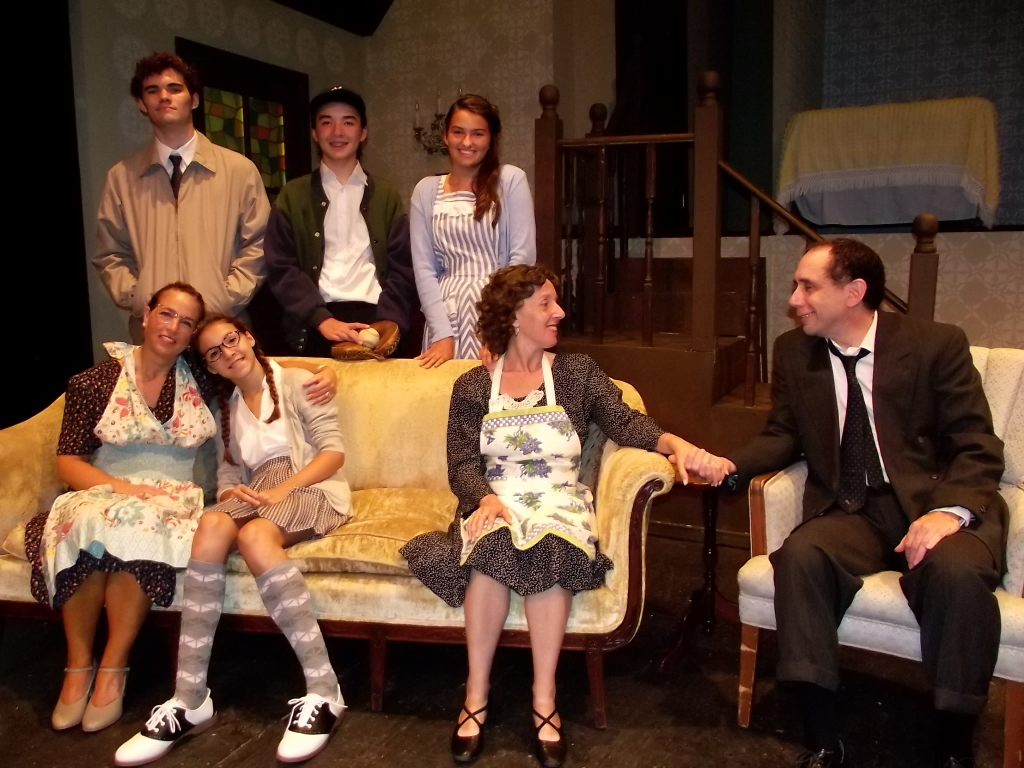 The Brighton Beach Memoirs Family Photo- Top Row L to R: Stanley Jerome (Mike Culhane), Eugene Jerome (Casey Baum) and Nora Morton (Sophia Speciale) Bottom Row: Blanche Morton (Jill Goodrich), Laurie Morton (Annalie Ellis), Kate Jerome (Nora Zanger) and Jack Jerome (Steve Feder)