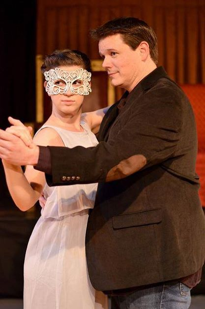 Ophelia (Chelsie Lloyd) waltzing with Hamlet (Michael J. Dombroski) at the wedding reception of Gertrude and Claudius