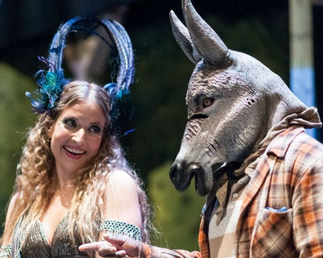 Kathryn Elizabeth Kelly as Titania, Queen of Fairies (l) and Gregory Burgess as Nick Bottom, the weaver (r)