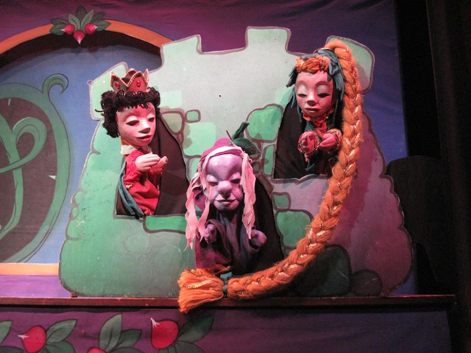 The Prince, Witch Wartsmith and Rapunzel at The Puppet Company in Glen Echo Park