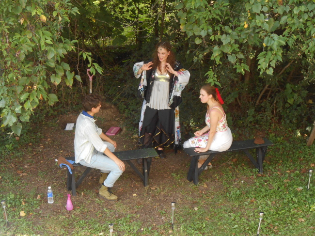 (l to r) Regan (Daven Ralston) Elias (Cathryn Benson) and Josaphine (Ann Fraistat) in Regan's garden. #wearesamurai
