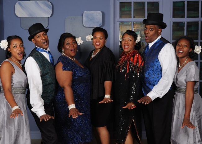 The cast of Vagabond Players' Ain't Misbehavin' featured left to right: Amber Hooper, Timoth David Copney, Melissa Broy Fortson, Michelle Bruno, Brenda D. Parker, Kevin Sockwell, and Summer Hill