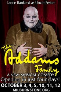 Lance Bankerd as Fester Addams in The Milburn Stone Theatre production of The Addams Family