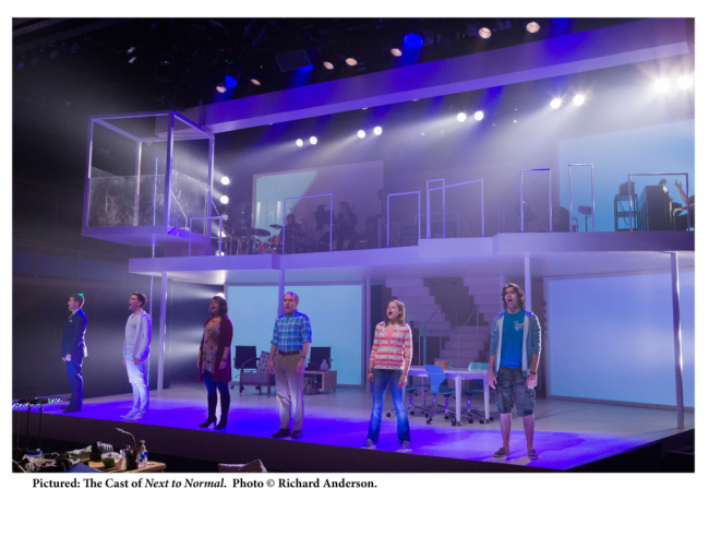 The Cast of Next to Normal at Centerstage (pictured l to r) Matt Lutz, Justin Scott Brown, Ariela Morgenstern, Michael Winther, Kally Duling, and Matthew Rodin