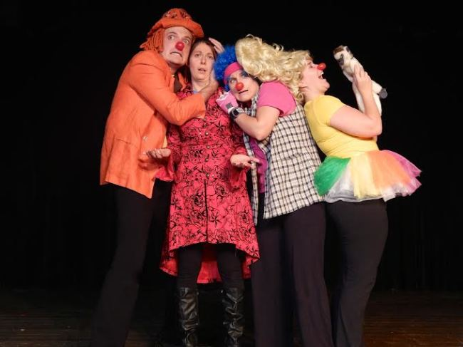 (l to r) Orange Clown (Jack Novak) Ringleader Tekla (Anna Jackson) Pink Clown (Alani Kravitz) and Silly Clown (Sarah King)