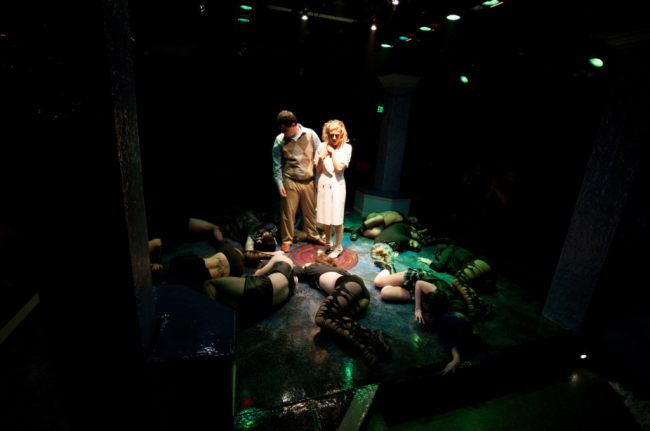 Center- Brad(l-Phil Vannoorbeeck) and Janet (Bridget Linsenmeyer) arrive at The Frankenstein Place