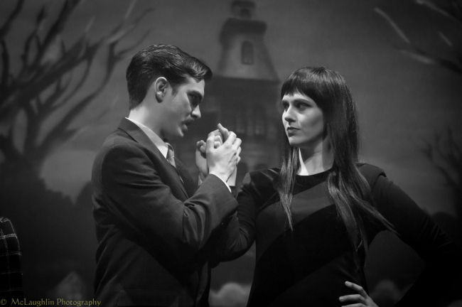 Gomez Addams (L- Bobby Libby) and Morticia Addams (R- Laura O'Brien)
