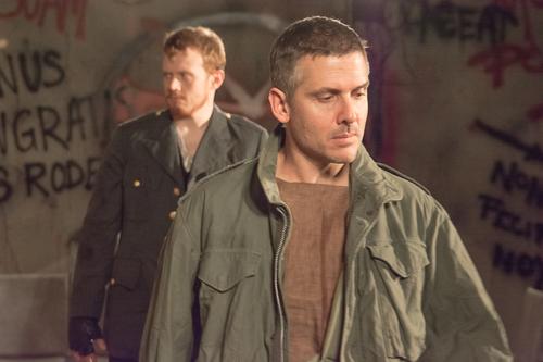 Matt Ancarrow (left) and Dave LaSalle (right) as Aufidius and Coriolanus in Coriolanus at Cohesion Theatre Company