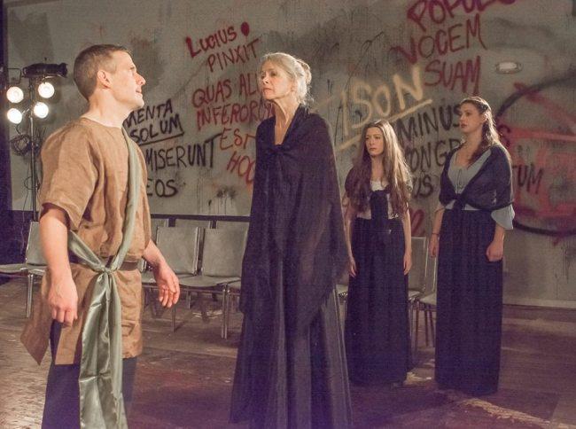 (l to r) Coriolanus (Dave LaSalle) Volumnia (Nancy Linden) Virgilia (Kelsey Painter) and Valeria (Lauren Engler) in Coriolanus at Cohesion Theatre Company