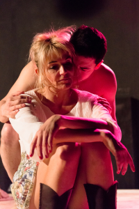 Beatrice (l- Karin Rosnizeck) and Jamie (r- Joe Feldman) in the world premier of Virus Attacks Heart at Venus Theatre
