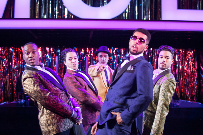 (L to R) Sheldon Henry as Big Moe, Jobari Parker-Namdar as No Moe, Clinton Roane as Little Moe, Travis Porchia as Four-Eyed Moe and Paris Nix as Eat Moe in Five Guys Named Moe at Arena Stage at the Mead Center for American Theater November 14-December 28, 2014.