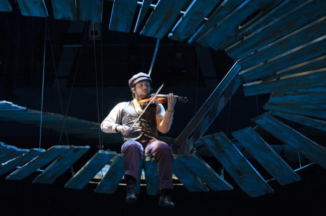 Alex Alferov as the Fiddler in Fiddler on the Roof at Arena Stage at the Mead Center for American Theater October 31, 2014-January 4, 2015.