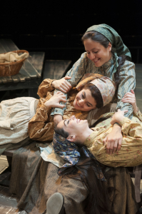 Maria Rizzo as Chava, Dorea Schmidt as Tzeitel and Hannah Corneau as Hodel in Fiddler on the Roof at Arena Stage at the Mead Center for American Theater October 31, 2014-January 4, 2015.