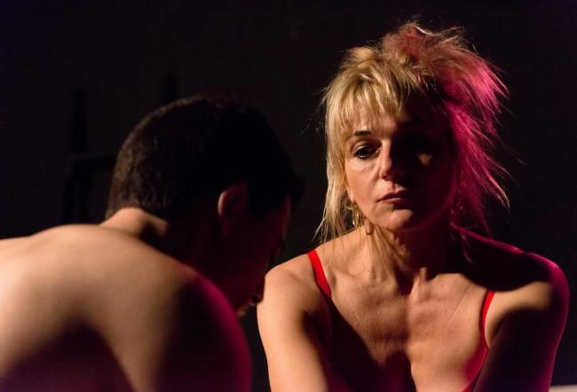 Jamie (L- Joe Felman) and Beatrice (Karin Rosnizeck) in the world premier of Virus Attacks Heart at Venus Theatre