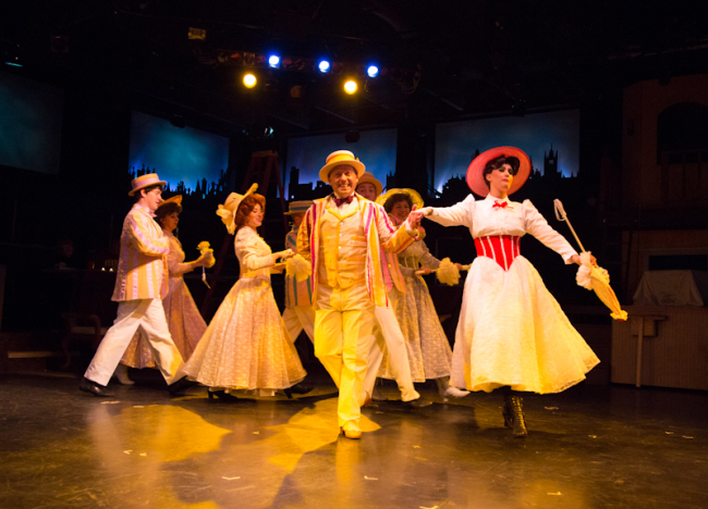 """Bert (L- Jeffrey Shankle) and Mary Poppins (R- Maura Hogan) dancing through """"Jolly Holiday"""""""