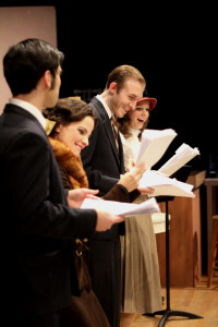 Dillon DiSalvo as Bow, Kathryn Barrett-Gaines as Margaret, Grayson Owen as Rick, and Erin Hanratty as Mae in A Christmas Carol, 1933 at Parlor Room Theater, December 19-21, 2014