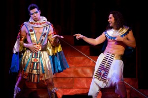 Pharaoh (Ryan Williams) and Joseph (Ace Young) in the National Tour of Joseph and the Amazing Technicolor Dreamcoat 2014