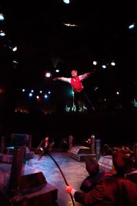 """Jeffrey Shankle as Bert going over the rooftops for """"Step in Time"""""""