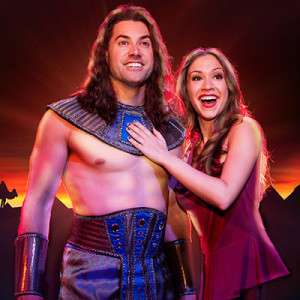 Joseph (L- Ace Young) and The Narrator (R- Diana DeGarmo) in the National Tour of Joseph and the Amazing Technicolor Dreamcoat 2014