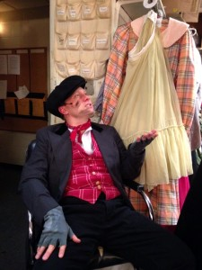 Jeffrey Shankle as Bert the Chimney Sweep backstage between scenes