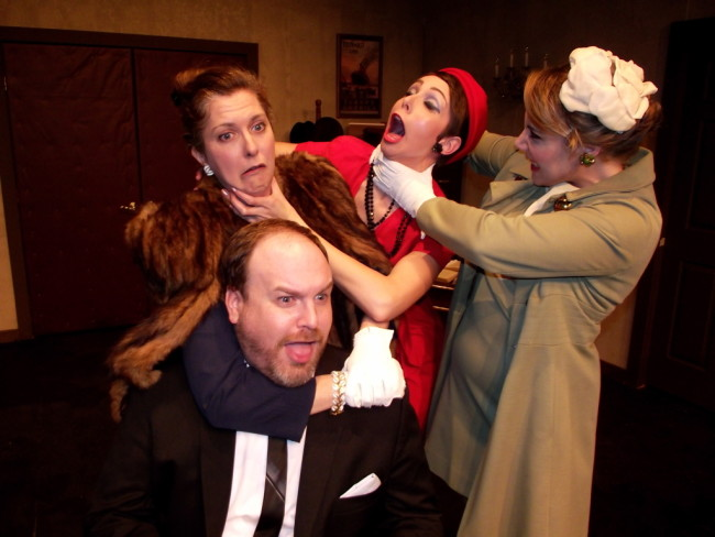 Paul (Bottom Left- Matt Leyendecker) with Madam Beaurevers (Directly Above- Mary Koster), Josefa (Center- Erica Jureckson) and Antoinette (R- Lea Scherini)
