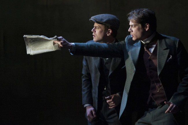 (L to R) Lucas Hall as Doctor Watson and Gregory Wooddell as Sherlock Holmes in Ken Ludwig's Baskerville: A Sherlock Holmes Mystery at Arena Stage at the Mead Center for American Theater, January 16-February 22, 2015.