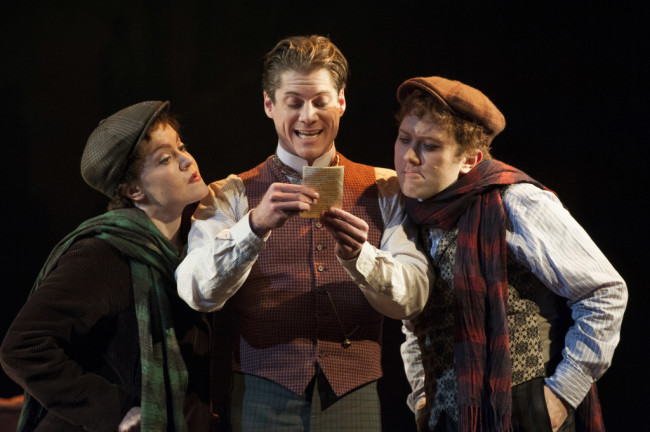 (L to R) Jane Pfitsch, Gregory Wooddell as Sherlock Holmes and Stanley Bahorek in Ken Ludwig's Baskerville: A Sherlock Holmes Mystery at Arena Stage at the Mead Center for American Theater, January 16-February 22, 2015.