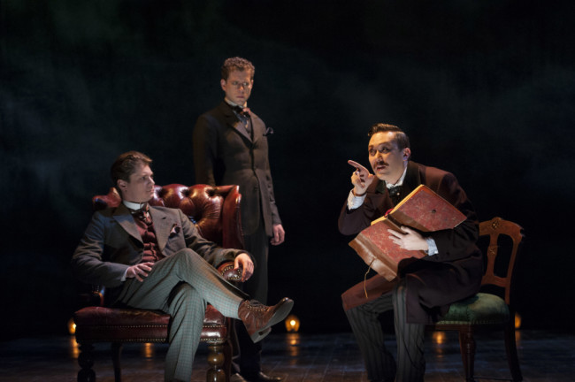(L to R) Gregory Wooddell as Sherlock Holmes, Lucas Hall as Doctor Watson and Stanley Bahorek in Ken Ludwig's Baskerville: A Sherlock Holmes Mystery at Arena Stage at the Mead Center for American Theater, January 16-February 22, 2015
