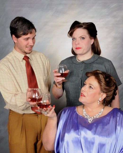 Paul (L- Rick Lyon-Vaiden) Hilde (C- Karina Ferry) and Mrs. Price (R- Laura Gifford)