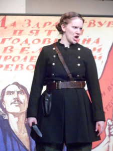 Rebecca Speas as Cassius in The Rude Mechanicals production of Julius Caesar
