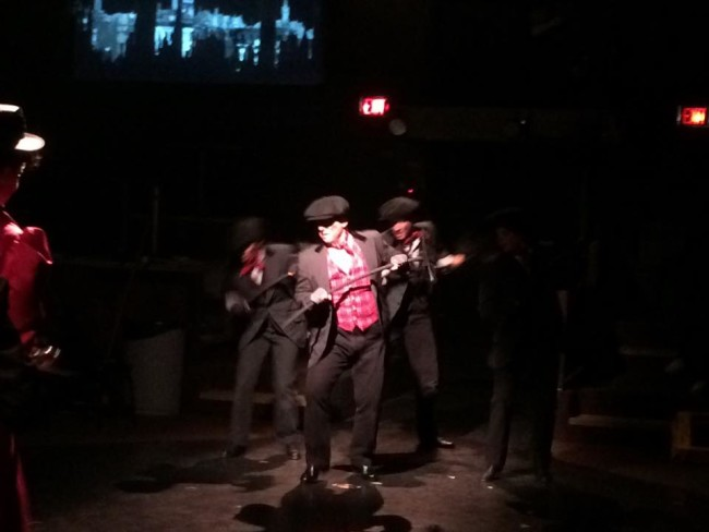 "Jeffrey Shankle as Bert (center) tapping through ""Step in Time"""