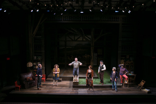 (L to R) Astor (Eric Hissom), Sonia (Judith Ingber), Vanya (Sasha Olinick), Ella (Monica West), The Professor (John Lescault), Babs (Naomi Jacobson), and Pickles (Kimberly Gilbert)