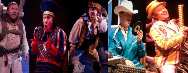Jeffrey Shankle in the 2014 season of Toby's Dinner Theatre: (l to r) Patsy in Spamalot, Lord Farquaad in Shrek, Samuel in The Pirates of Penzance, Boring DJ in Memphis, and Bert in Mary Poppins