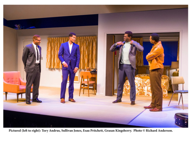Pictured left to right: Tory Andrus as Malcom X, Sullivan Jones as Cassius Clay, Esau Pritchett as Jim Brown, and Grasan Kingsberry as Sam Cooke