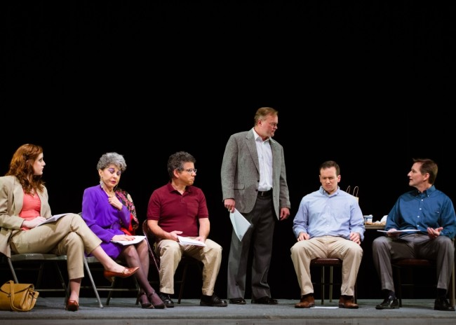 (L to R) Karen (Christne Carter) Bella (Joan Susan Zeigler) Lloyd (Jay Stein) Alex Dennison (Ian Brown) Leo (Wilson Paine) and David (Kevin Walker) gather to discuss Alex's new play