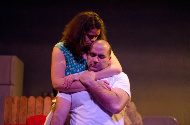 Gabriela (L- Jessica Garrett) and Benito (R- Kaveh Haerian)