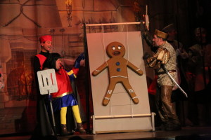 Lord Farquaad (L- Ken Ewing) and Gingy (R- voiced by Tammy Oppel)