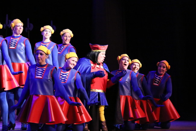 "Lord Farquaad (Center- Ken Ewing) and the Dulock Dancers perform ""What's Up, Duloc?"" in Shrek the Musical at St. Demetrio's Suburban Players"