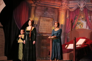 "Young Fiona (L- Elena Tagliaferro) Fiona (C- Julie Parrish) and Teen Fiona (R- Kaela Monsanto) singing ""I Know It's Today"" in Shrek the Musical at St. Demetrio's Suburban Players"