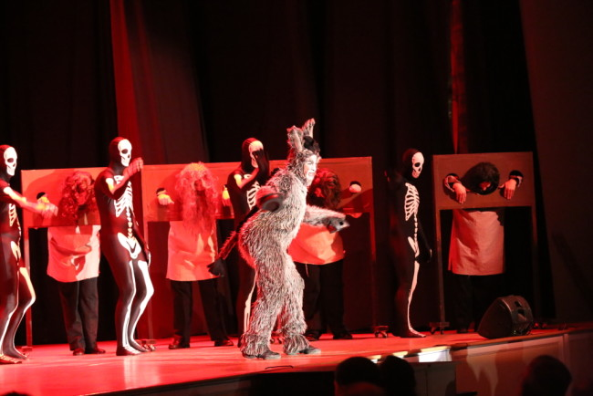 Donkey (Center- Gary Dieter) and the Skeleton dancers of Dragon's Keep