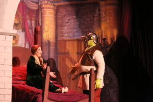 Fiona (L- Julie Parrish) and Shrek (R- Dickie Mahoney)