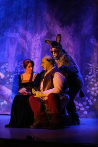 "Fiona (L- Julie Parrish) Shrek (C- Dickie Mahoney) and Donkey (R- Gary Dieter) performing ""Make a Move"""