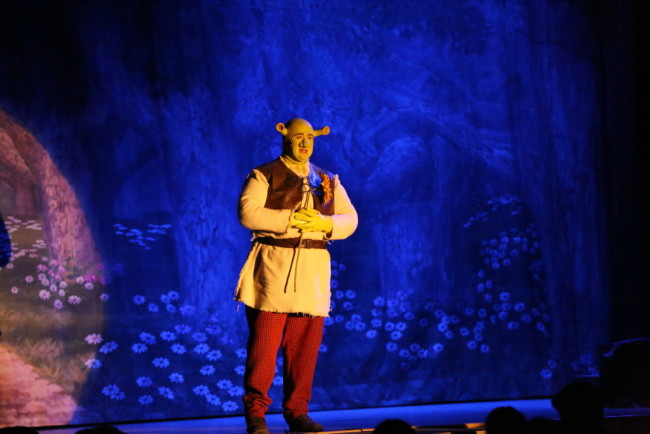 "Dickie Mahoney as Shrek, singing ""When Words Fail"" in Shrek the Musical at St. Demetrio's Suburban Players"